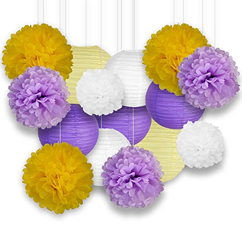 Just Artifacts Decorative Paper Party Pack (15pcs) Paper Lanterns and Pom Pom Balls - White/Purple/Yellow - Paper Lanterns and Décor for Birthday Parties, Baby Showers and Life Celebrations! (Purple Party Pack)