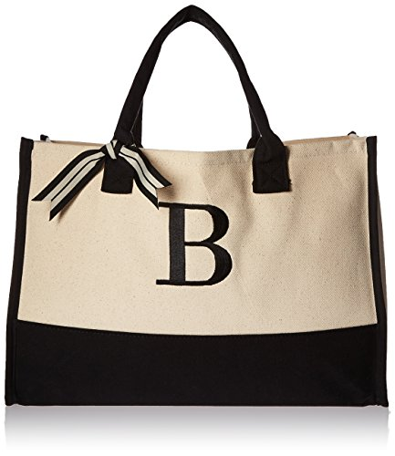 Mud Pie B-Initial Canvas Tote