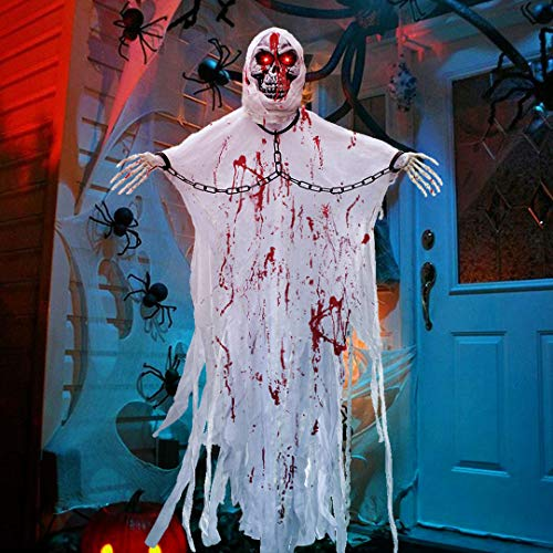 Halloween Hanging Decorations (LUKAT Halloween Hanging Ghost Decorations,5.24FT Scary Skeleton Flying Ghost Prop Skull with Creepy Sound and Glowing Eyes for Indoor/Outdoor)