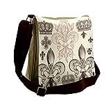 Lunarable Fleur De Lis Messenger Bag, Heraldic Coat of Arms, Unisex Cross-body