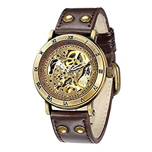 Carrie Hughes Men's Steampunk Automatic Watch Skeleton Self-Winding Mechanical Leather Brown CH168 (CH168)