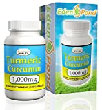 Eden Pond Turmeric Curcumin, 1000mg in Two Daily Capsules, 120 Caps
