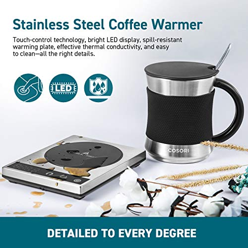 Cosori Coffee Mug Warmer & Mug Set,Electric 24Watt Beverage Cup Warmer for Desk Home Office Use,304 Stainless Steel 17oz Mug w/ Lid,Touch Tech & LED Backlit Display,Ideal for Gift,Coffee,Tea, Hot Cocoa by COSORI (Image #3)