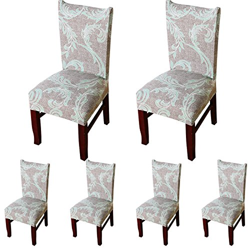 ColorBird European Style Spandex Fabric Chair Slipcovers Removable Universal Stretch Elastic Chair Protector Covers for Dining Room, Hotel, Banquet, Ceremony (Set of 6, Khaki)