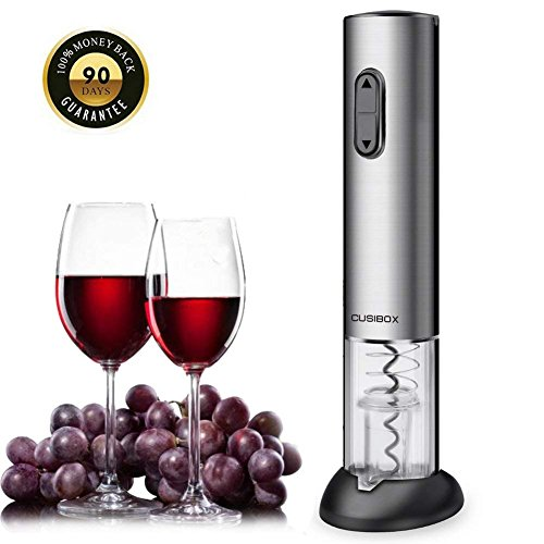 - Wine Opener, CUSIBOX Electric Wine Bottle Opener with Foil Cutter, Charging Base and LED Light- Stainless Steel