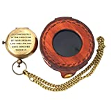 Antique Maritime Brass Push Button Pocket Watch Lid with Chain Thoreau Quotes'Go Confidently' Leather Case