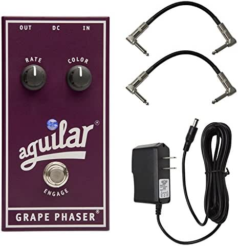 Aguilar Grape Phaser Bass Phaser Effects Pedal Bundle w/2 Patch Cables and 9V Power Supply
