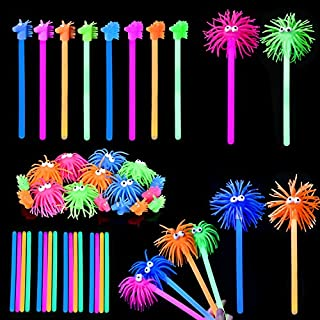 FUN LITTLE TOYS 16PCs Glow Sticks for Halloween decoration, Halloween Party Favors ,Kids Prizes(Including Animal Squishy Toppers and Glow Wands)