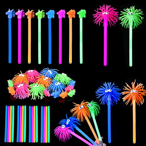 16PCs Glow Stick Party Favors Bulks in Different Animal Head Glowing Wand for Halloween Party Favors, Glow in Dark Party Supplies