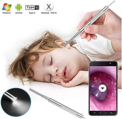 Digital Otoscope Window and Mac 2020 New Upgrade 3.9mm Diameter Visual Ultra-Slim HD Ear Scope Camera Ear Cleaner with Ear Wax Removal Tool and 6 Adjustable LED Lights for Android