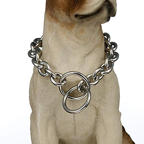 FANS JEWELRY 13/15mm Silver Tone Rolo Link 316L Stainless Steel Dog Choke Chain Collar 12-36inch(36inches,15mm)