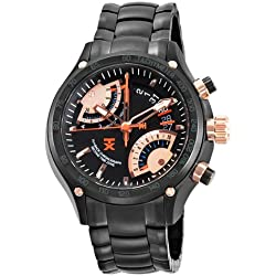 TX Men's T3C163 650 Flyback Chrono Dual Time Black Dial Black Ion-Plated Stainless Steel Watch