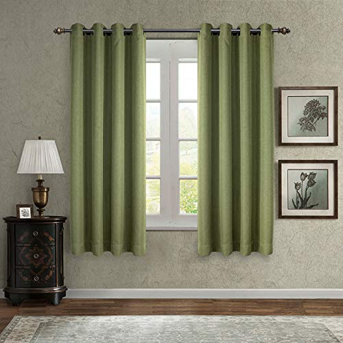 SINGINGLORY Green Room Darkening Curtains for Living Room/Bedroom, 2 Panels Linen Textured Grommet Curtains 52 x 63 Inch Blackout Window Curtains (Green)