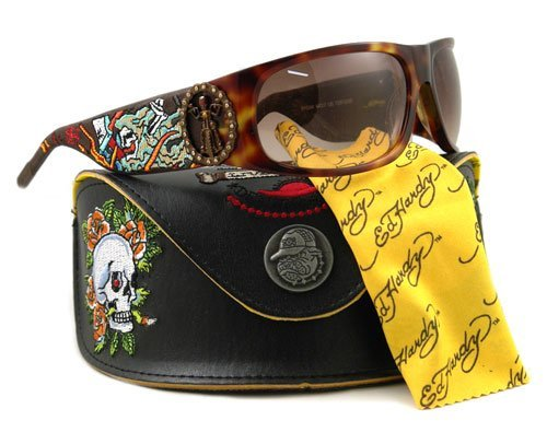 Ed Hardy Live to Ride EHS 044 Gradient Sunglasses, Brown Ed Hardy New Tiger
