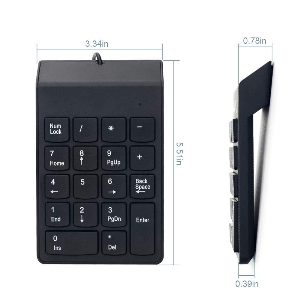 Ordinateur de Bureau PC Hihey Mini Clavier USB avec 18 pav/é num/érique pour Ordinateur Portable Ordinateur Portable PC de Bureau pour Ordinateur Portable Noir Portable