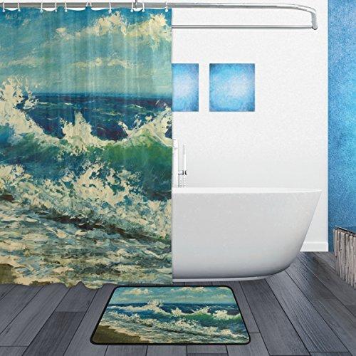My Daily Sea Beach Waves Seashore Oil Painting Shower Curtain 60 X 72 Inch With Bath