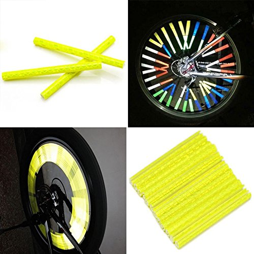 12pcs Bicycle Wheel Reflective Warning Strip (yellow) - 7