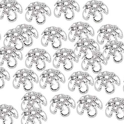 - 100PCS Flower Bead Caps Silver Plated Hollow 5 Petal Flower Bead End Caps For Jewelry Making Antique 10mm