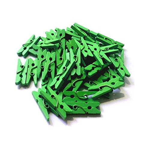 LWR Crafts Wooden Mini Clothespins 200 Per Pack 1 2.5cm (Classic Green)