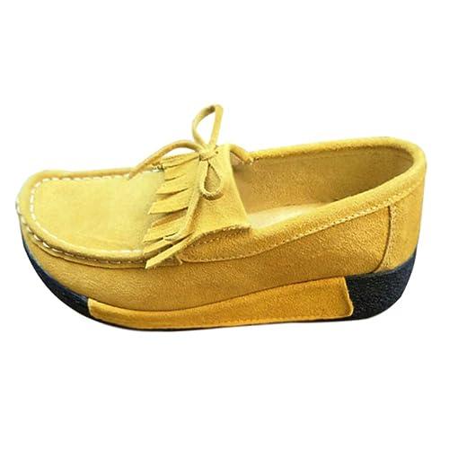 Daytwork Zapatos para Mujer Náuticos - Mocasines Punta Redonda Plataforma Tacón de cuña Cordones Gamuza Borla Casual: Amazon.es: Zapatos y complementos
