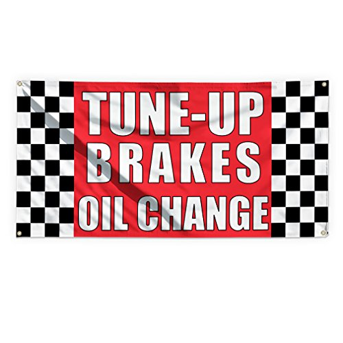 Tune-Up Brakes Oil Change #1 Outdoor Advertising Printing Vinyl Banner Sign With Grommets - 3ftx6ft, 6 Grommets