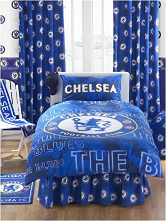 Chelsea FC Curtains Crest Design 54 Drop Amazon Co Uk Kitchen