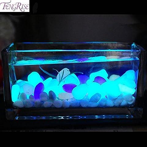 Pansupply 50 pcs glow in the dark artificial luminous pebbles stone aquarium fish tank decoration