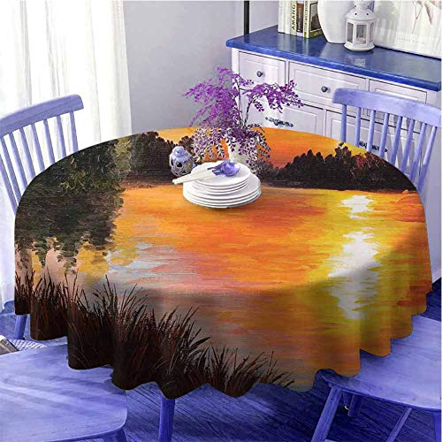 DRAGON VINES Round Tablecloth Wedding Tablecloth Lake Forest at Sunset Abstract Art Impressionism Style Diameter 62