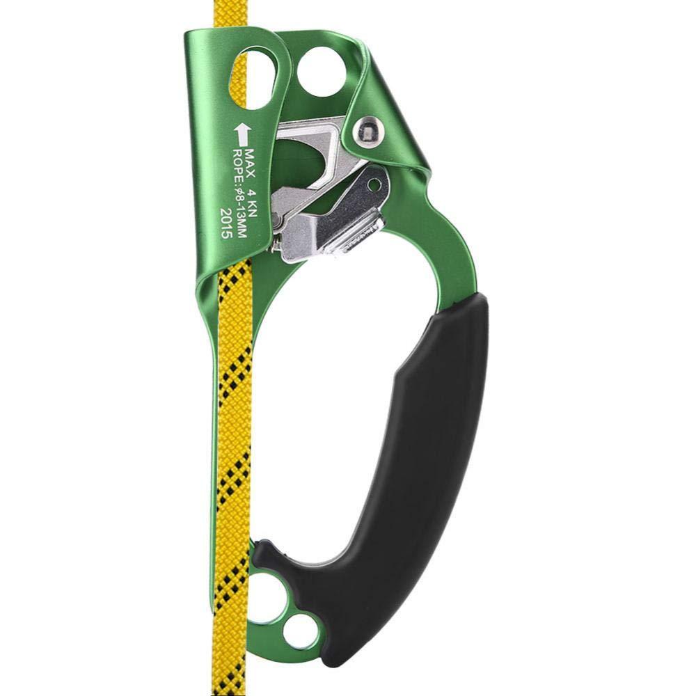 クライミングアセンダー クライミングデバイス 右手 クライミングロープ ハンドル クランプ 8mm-13mm ロープ ロッククライミング機器  グリーン B07JX8BV7X