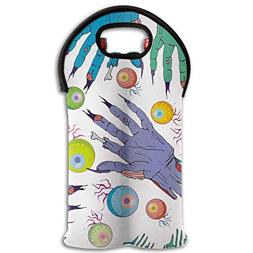 Zombies Eyeball Hand Wine/Water Two Bottles Tote Full Printed Portable Bag -