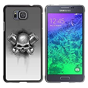 Design for Girls Plastic Cover Case FOR Samsung ALPHA G850 Skull Gas Black White Metal Death Rock OBBA