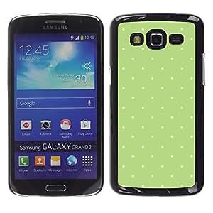 Be Good Phone Accessory // Dura Cáscara cubierta Protectora Caso Carcasa Funda de Protección para Samsung Galaxy Grand 2 SM-G7102 SM-G7105 // polka dot pattern green moss white