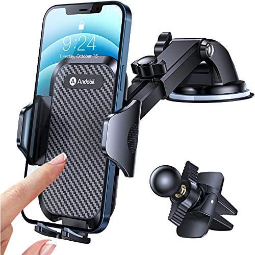 [Holder Expert] Andobil Car Phone Mount Easy Clamp, [Safe Driving & Bumpy Roads Friendly] Hands-Free Universal Dashboard…