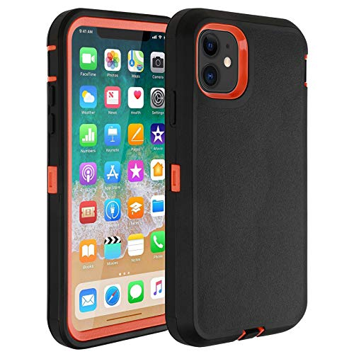 "Co-Goldguard Case for iPhone 11,Heavy Duty Durable Hard Cover Full Coverage 3 in 1 Reinforced Dust-Proof Shockproof Scratch Resistant Shell Fit for iPhone 11 6.1"",Black&Orange"