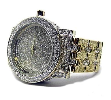 Bling Bling Online Reloj de hip hop, chapado en oro, con diamantes sintéticos: Amazon.es: Relojes