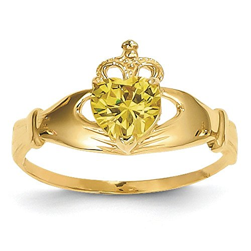 14K Gold November Birthstone Synthetic Claddagh Ring (yellow-gold)