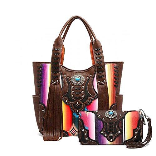 Brown Striped Handbag (Cowgirl Trendy Multi-Striped Serape Fringe Concealed Carry Tote Handbag and Wallet (Brown))