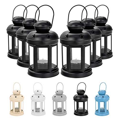- Nicola Spring Candle Lanterns Tealight Holders Vintage Metal Hanging Indoor Outdoor - 16cm - Black - Set 6