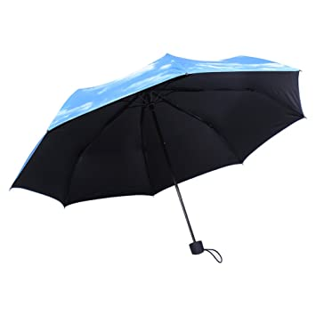 Zerodis Paraguas Anti Uv Sun Protection Umbrella 3 Plegable Paraguas de Calidad Superior Blue Sky Patrón