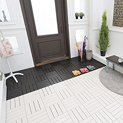 HARRA HOME Quick Composite Decking Interlocking Multi-Use Flooring Deck Tiles, Suitable for Indoor and Patio Outdoor Applications, Stripe Pattern Wood-Plastic Slate, 12 x 12 Inches, Pack of 6