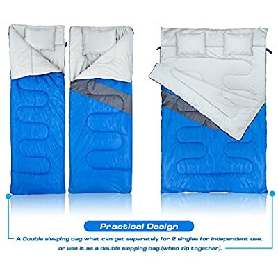 Double Sleeping Bag (Queen Size) with 2 Small Pillows - Waterproof, Comfortable & Compact for Hiking, Trekking, Camping or other Outdoor Activities - Includes a Carry Bag with Compression Sack.