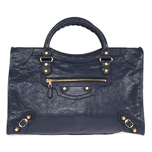 Balenciaga Women's Giant City Leather Bag, Bleu Obscur