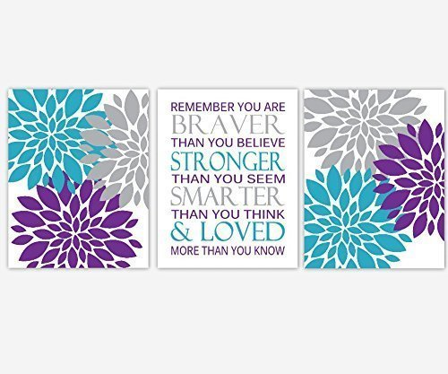 Baby Girl Nursery Wall Art Purple Teal Turquoise Gray Grey Flower Burst  Dahlia Mums You Are