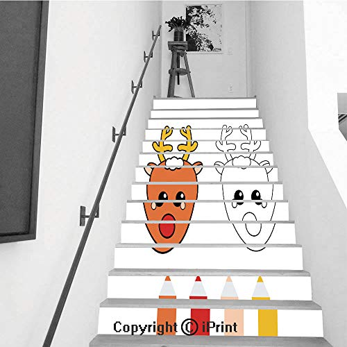 baihemiya stickers 13Pcs Stair Sticker Decals 3D Creative Building Stair Risers Tiles Wallpaper Mural Self-Adhesive,Coloring Page with Christmas Deer Drawing Kids Game Printable Activity