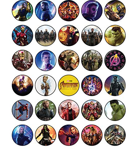 30 x Edible Cupcake Toppers - Avengers: Infinity War Themed Collection of Edible Cake Decorations | Uncut Edible Prints on Wafer Sheet