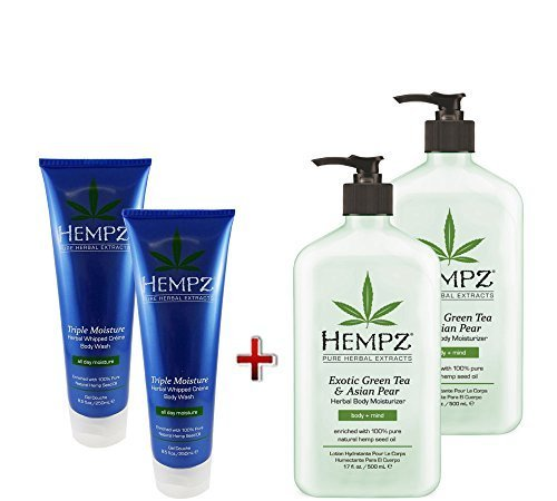 Hempz Green Tea & Asian Pear Body Moisturizer 17oz 2Pack & Herbal Whipped Body Wash 8.5oz 2Pack