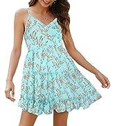 ROYLAMP Women's Summer Floral Spaghetti Strap Dress V-Neck Backless Ruffle Hem Swing Flowy Mini D...
