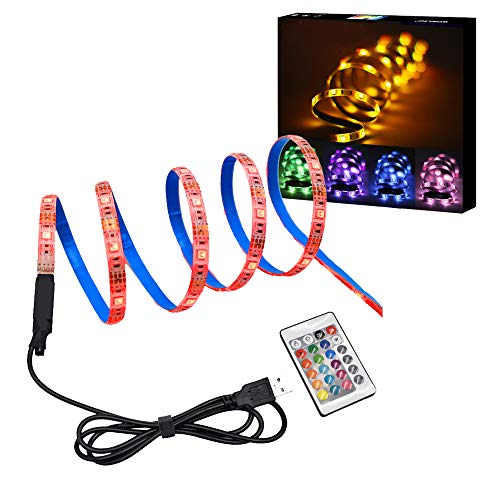 Anywayled TV LED Strip Light, 3.3ft LED TV Backlight Strip, USB Bias Lighting, RGB Changing Color Strip Kit, Waterproof Accent Light Set for Monitor Desktop PC Party Wedding Decor ( Wireless Remote ) ()