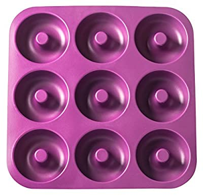 Unicorn Glitter LLC Non-Stick Silicone Donut Pan, Makes 9 Full Size Donuts, Oven, Dishwasher and Freezer Safe, BPA Free.