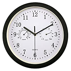Foxtop 10 Inches Silent Non-ticking Indoor/Outdoor Multifunctional Wall Clock Battery Operated with Temperature & Humidity, Glass Cover, Black